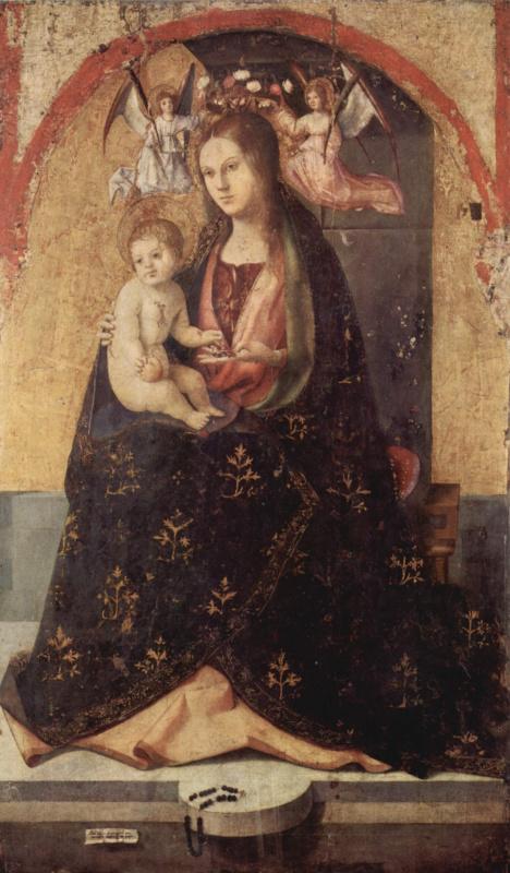 Антонелло да Мессина. Полиптих св. Григория, центральная часть, Мадонна на троне