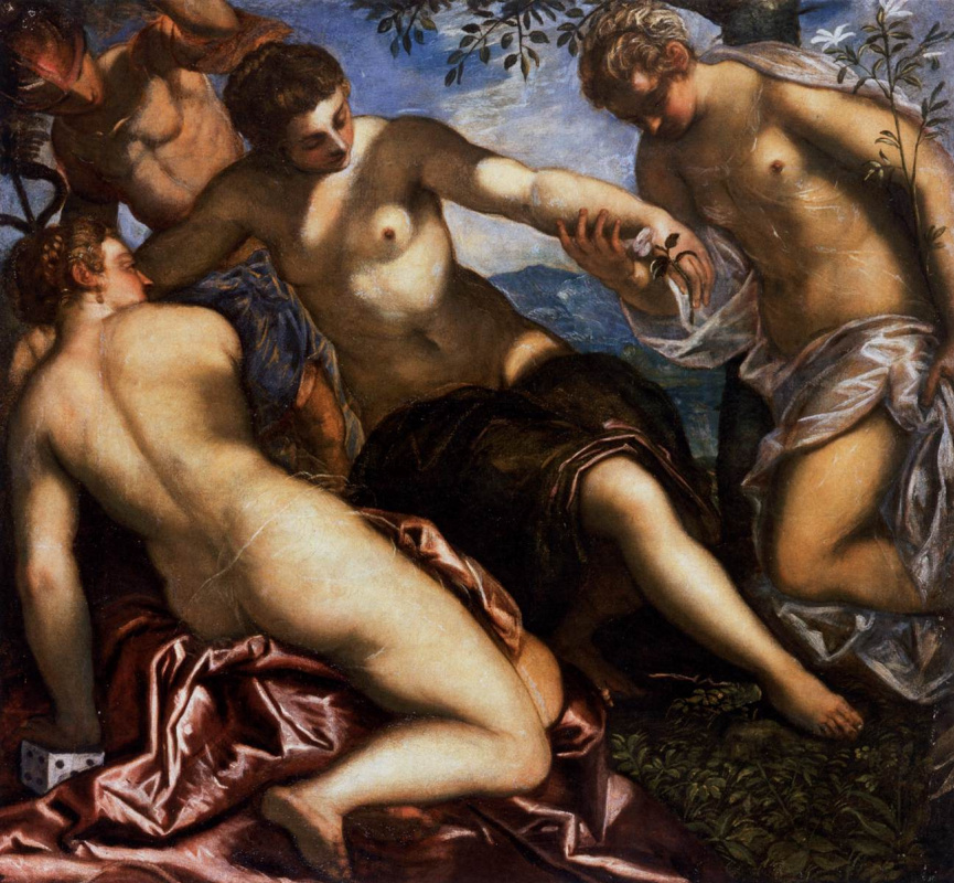 Jacopo (Robusti) Tintoretto. Mercury and the Three Graces