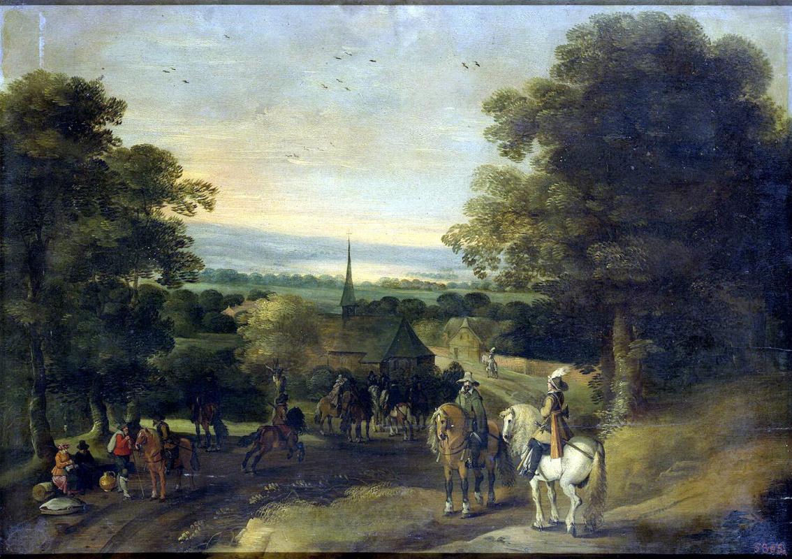 Izak van Osten. Landscape with a group of cavalrymen