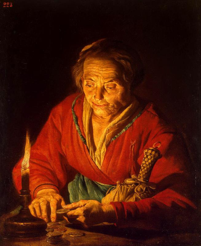 Маттиас Стомер. Старуха со свечой