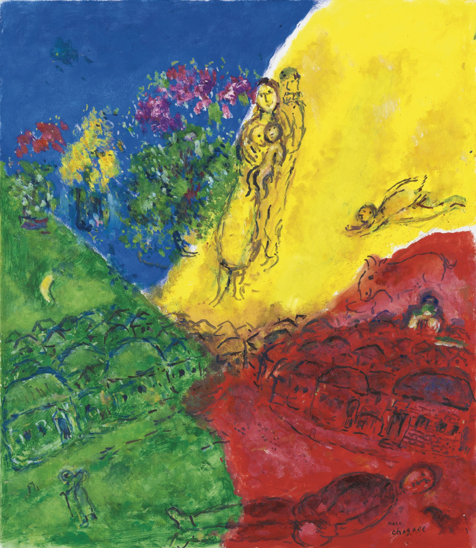 Marc Chagall. Village scenes in four colors