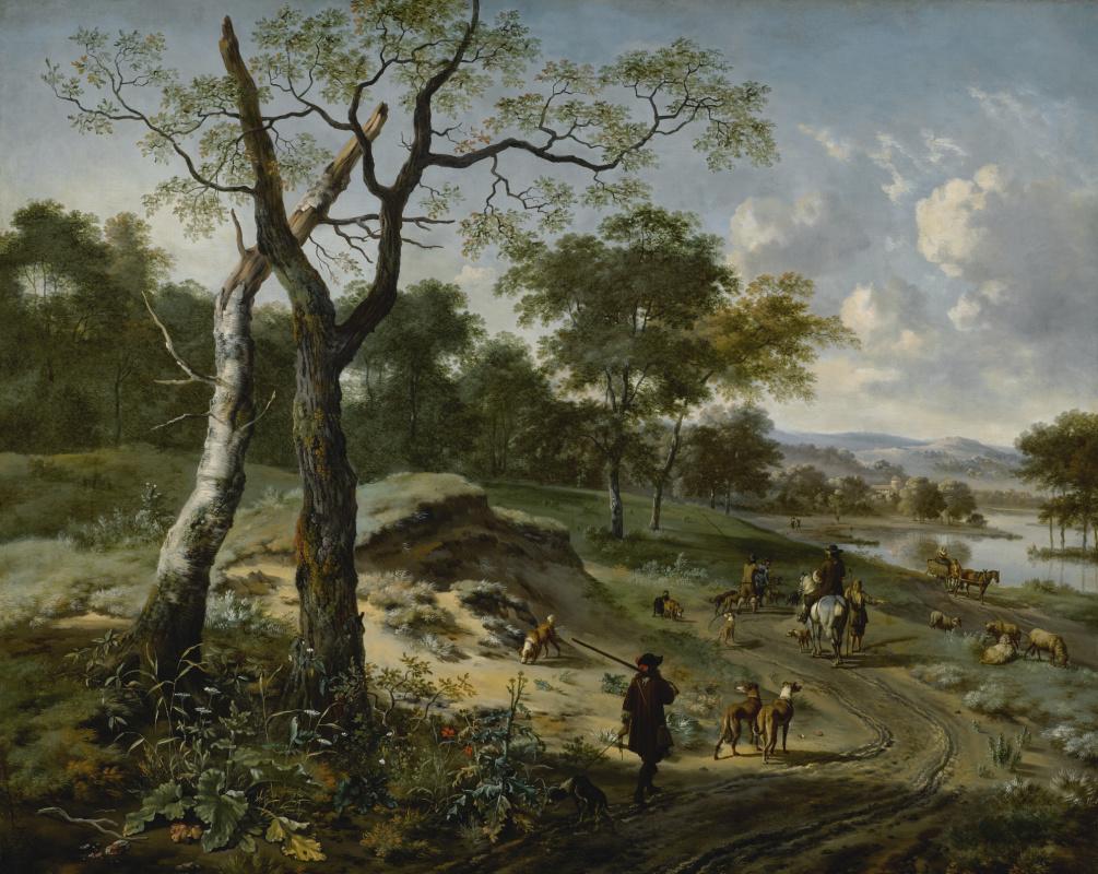 Ян Вейнантс. Вечерний лесной пейзаж с охотниками и собаками