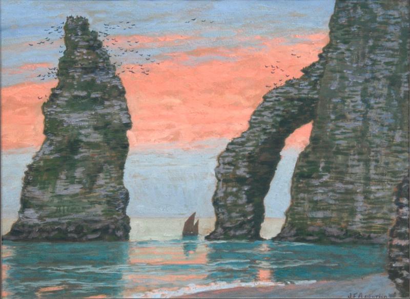 Jean Francis Ouurten. L'Aiguille d'Étretat, red sky