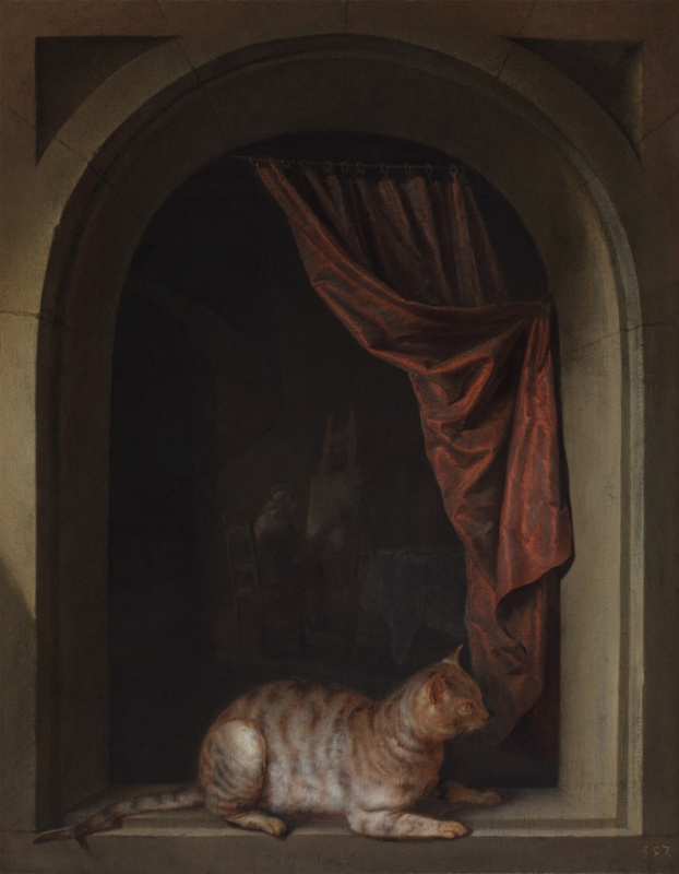 Gerrit (Gerard) Dow. Cat lying on the windowsill at the artist's studio