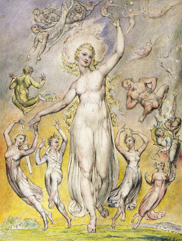 """William Blake. Joy. Illustrations to the poems of Milton's """"Fun"""" and """"Thoughtful"""""""