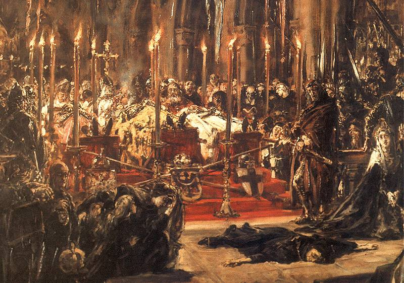 Jan Matejko. Funeral ceremony in the Cathedral of Wroclaw, association of 1241 years. Fragment. Silesian Duchess Jadwiga on the floor