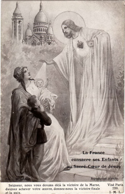 Sergey Sergeyevich Solomko. France blesses his children before the Holy heart of Jesus