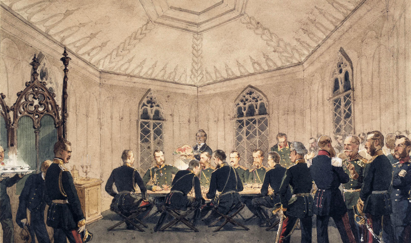 Mikhail Alexandrovich Zichy. Alexander II with a group of military at the table in the Gothic interior. State Hermitage, St. Petersburg. Drawing entered in 1927 Transferred from the library of Alexander II in the Winter Palace.