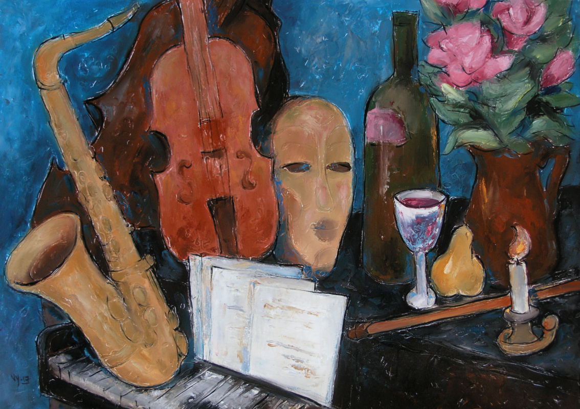 Valentina Evmenenko. Still life with musical instruments
