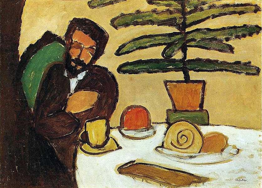 Gabriele Münter. Man at the table (Kandinsky).