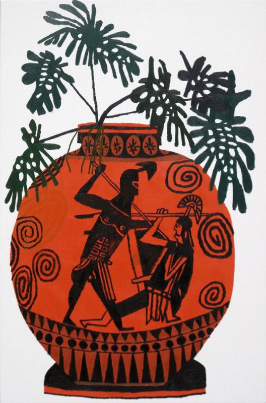 Йонас Вуд. Греческая ваза с зелёными листьями