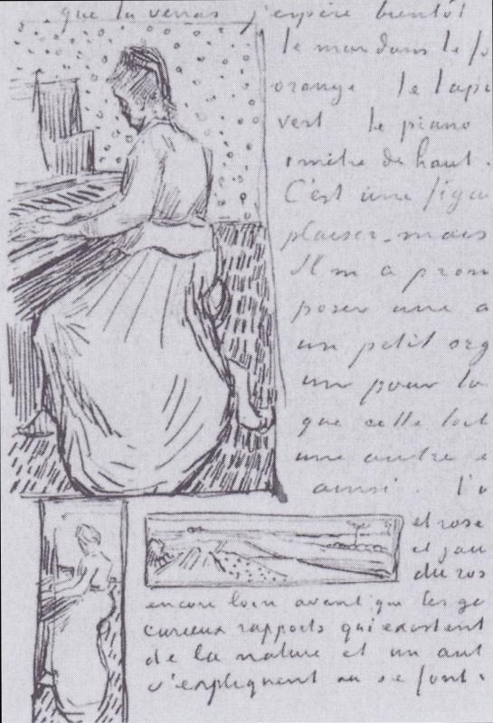 Винсент Ван Гог. Маргарита Гаше за фортепиано. Набросок одноименной картины из письма Винсента Ван Гога