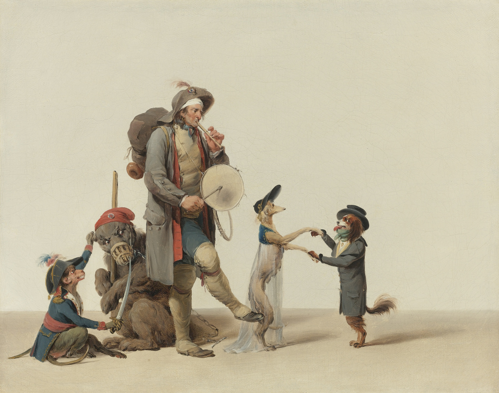 Louis-Leopold Boi. Curious piece: trainer with dancing dogs, a bear and a monkey