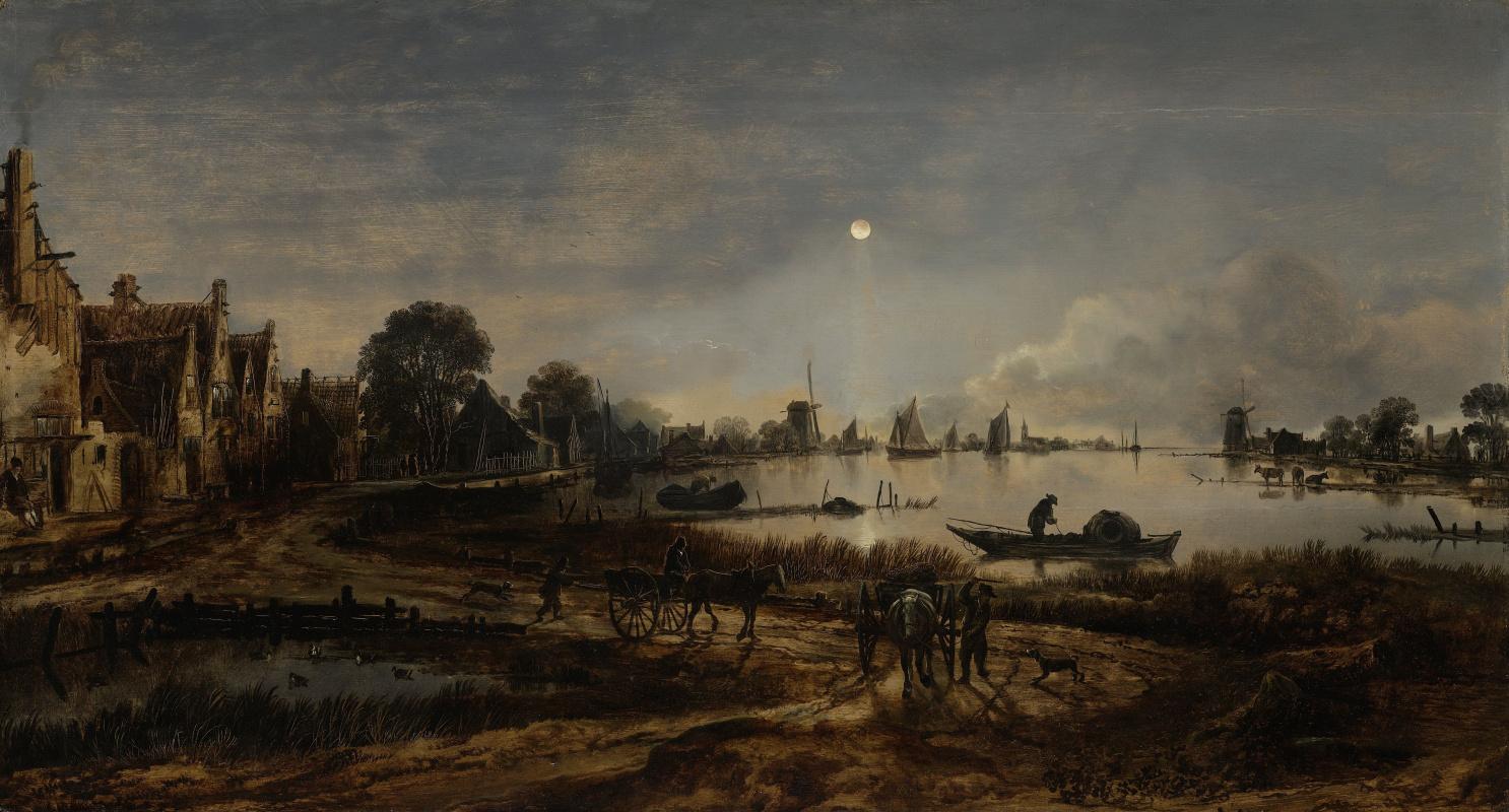 Aert van der Neer 1603 - 1677. Riviergezicht bij maanlicht