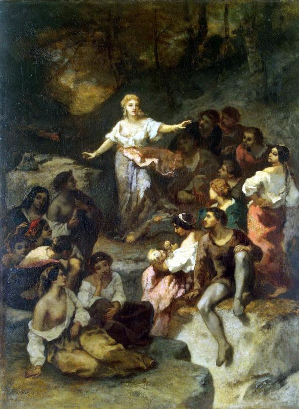 Нарсис Виржилио Диас де ла Пёнья. Цыгане, слушающие предсказания молодой гадалки