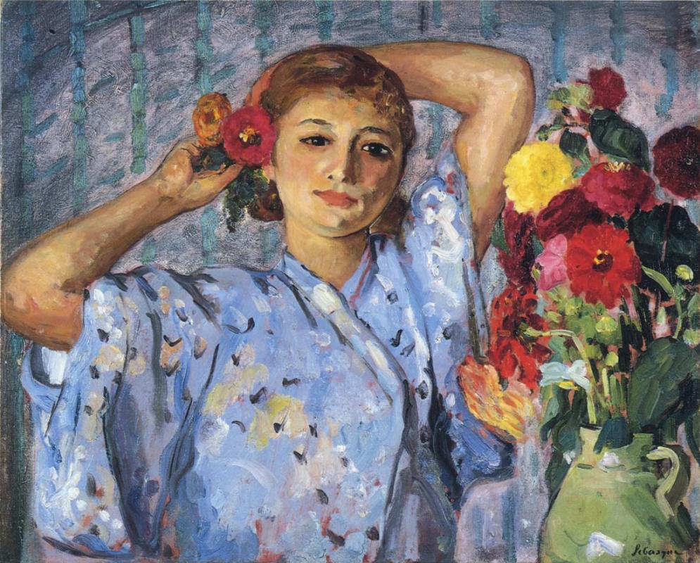 Анри Лебаск. Молодая девушка с цветами