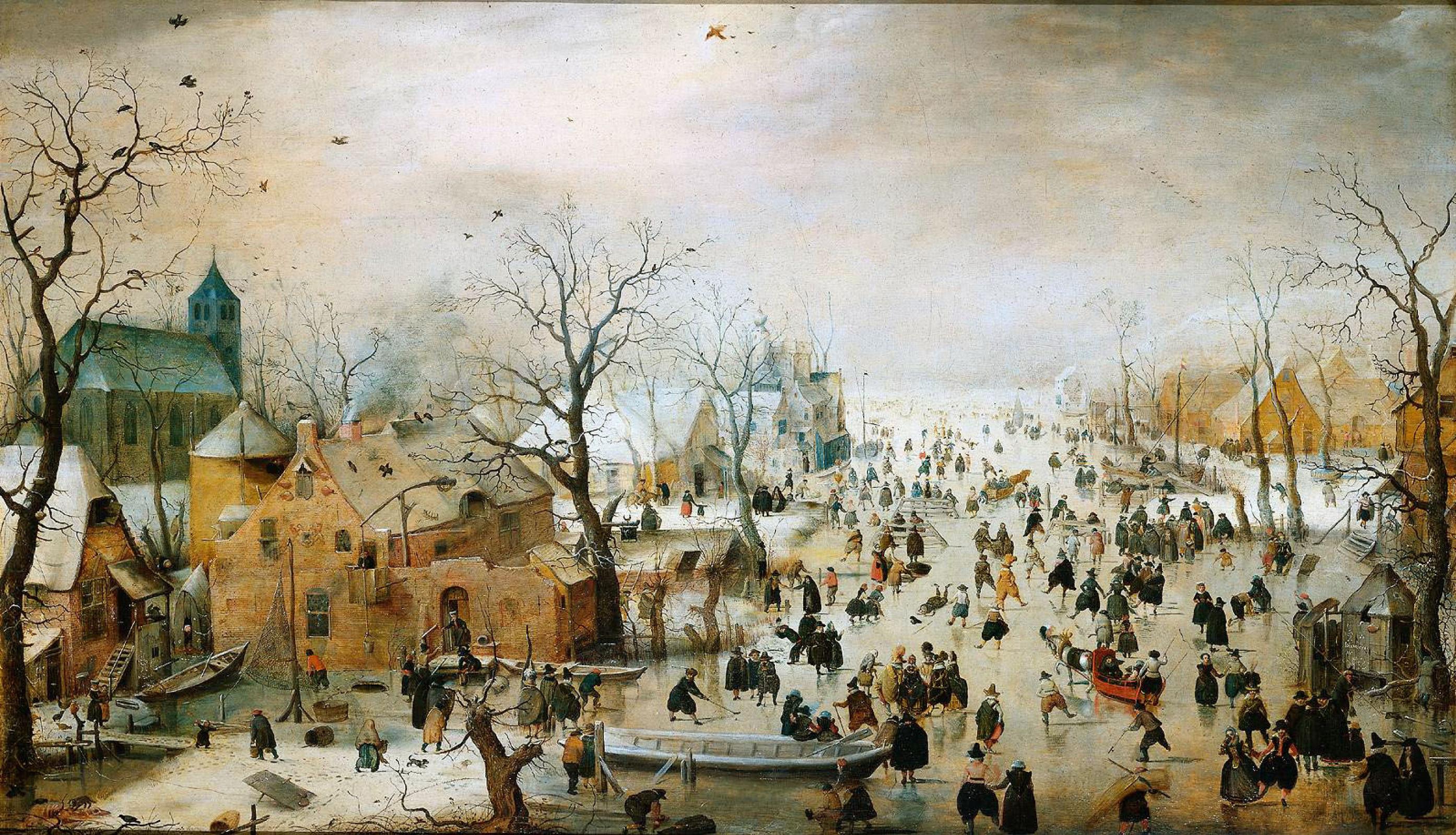 Хендрик Аверкамп. Зимний пейзаж с конькобежцами
