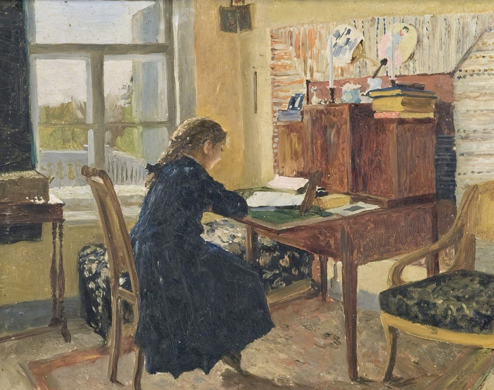Alexander Alexandrovich Kiselev. Александра Мамонтова за письменным столом. Абрамцево