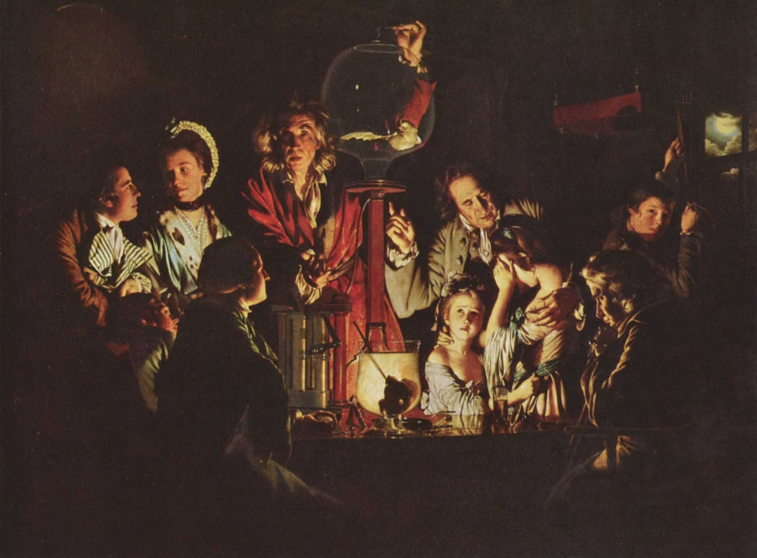 Joseph Wright. Experiment on a bird in the air pump