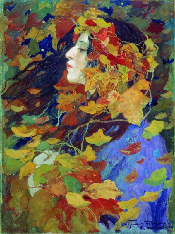 Иван Горюшкин-Сорокопудов. Листопад. Портрет В.В. Иссинской