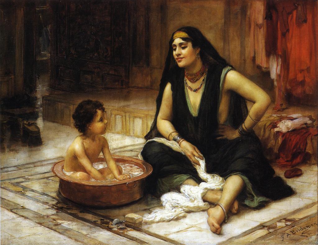 Frederick Arthur Bridgman. Bathing. Concubine with a child