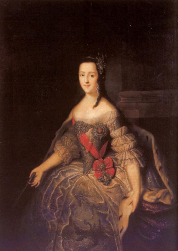 Портрет великой княгини Екатерины Алексеевны с веером в руках