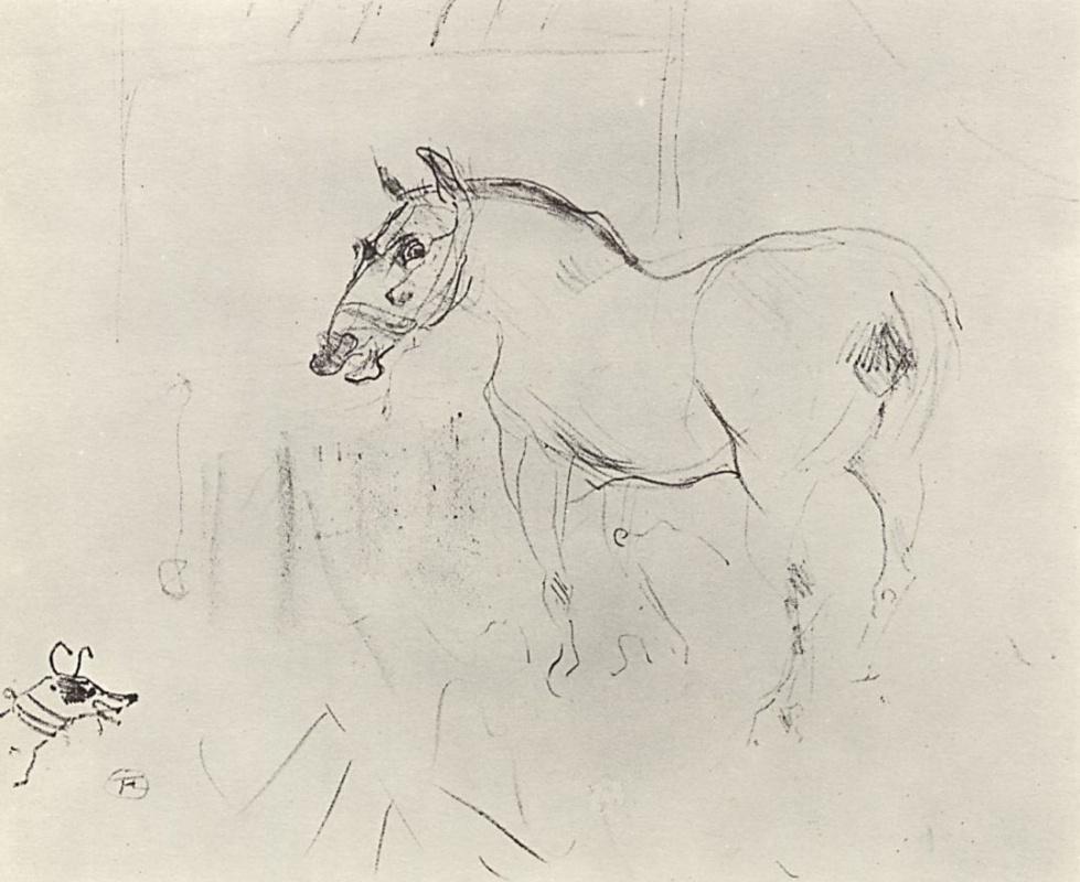 Henri de Toulouse-Lautrec. Little pony and the dog