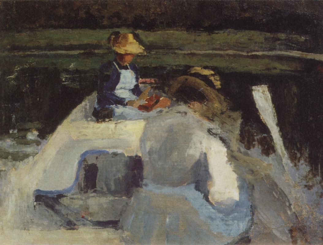 Виктор Эльпидифорович Борисов-Мусатов. В лодке. 1892-1894 Этюд