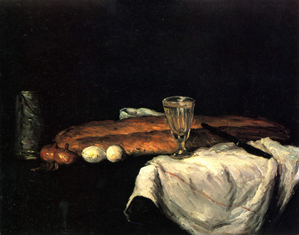Paul Cezanne. Still life with bread and eggs