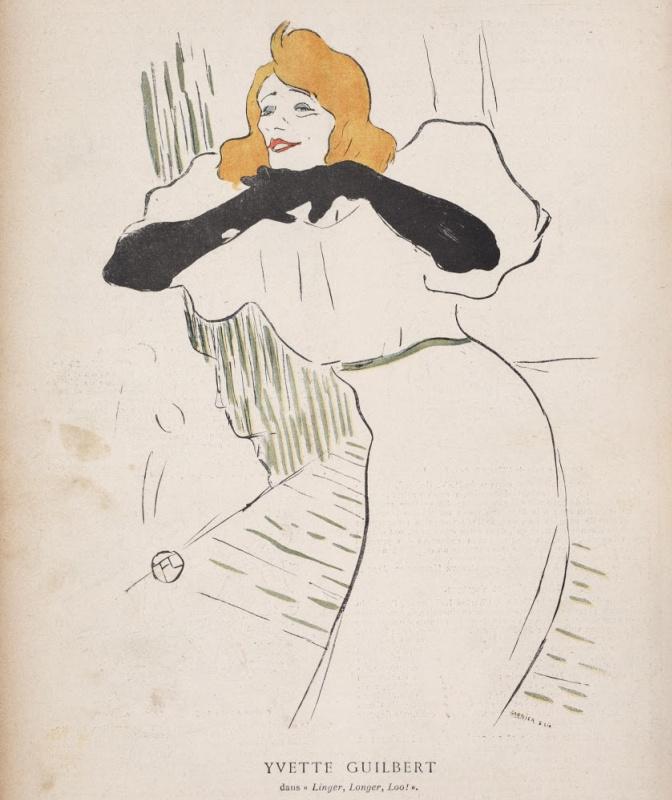 Henri de Toulouse-Lautrec. Yvette Guilbert, illustration from Le Rire 22 Dec 1894