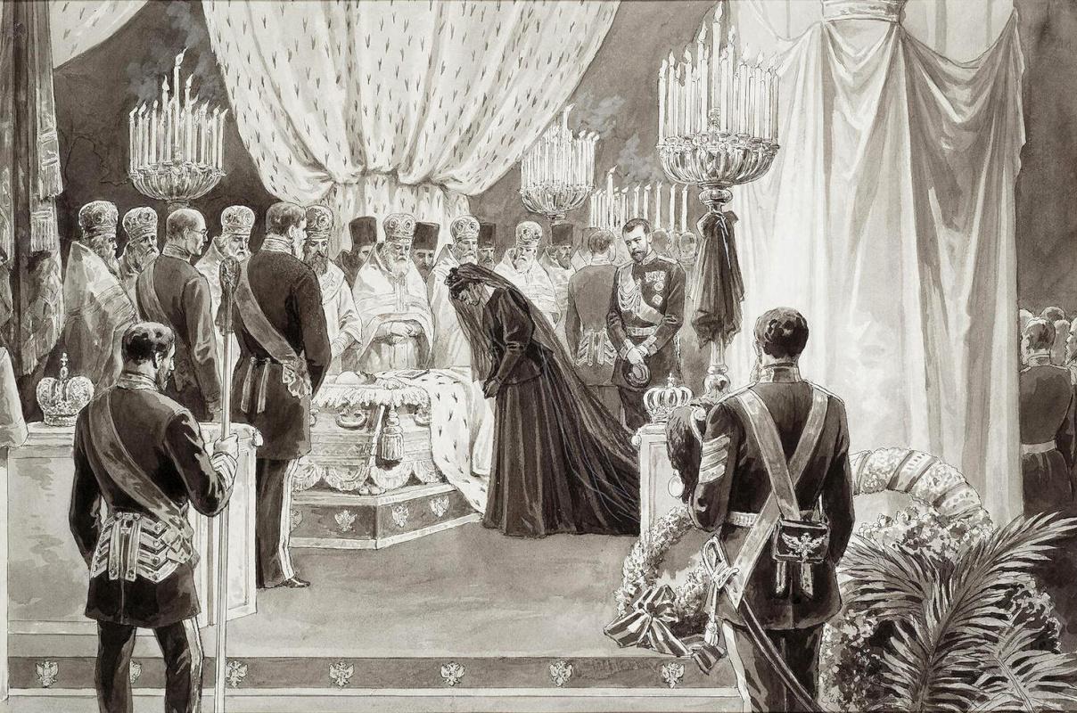 Карл Осипович Брож. Похороны Александра III в Петропавловском соборе в Санкт-Петербурге