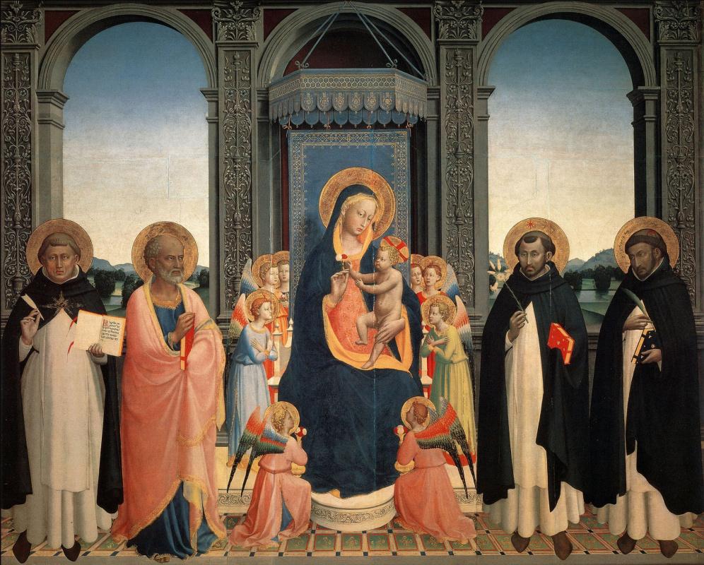 Фра Беато Анджелико. Мадонна с Младенцем, святыми и ангелами. Центральная панель алтаря церкви Святого Доминика во Фьезоле