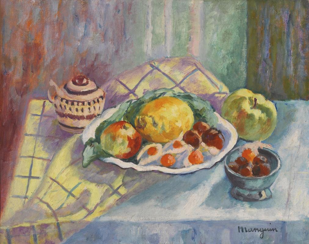 Анри Шарль Манген. Натюрморт с яблоками и лимоном