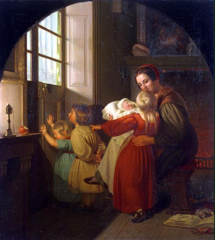 Фердинанд Теодор Хильдебрандт. Дети в ожидании елки