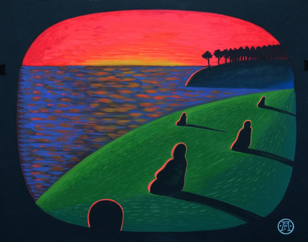 Alexander Hermesov. Sunset on the Kama