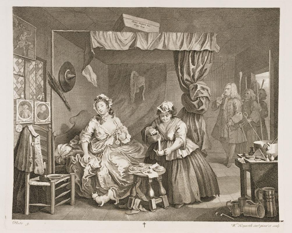 William Hogarth. Career prostitutes. Arrest