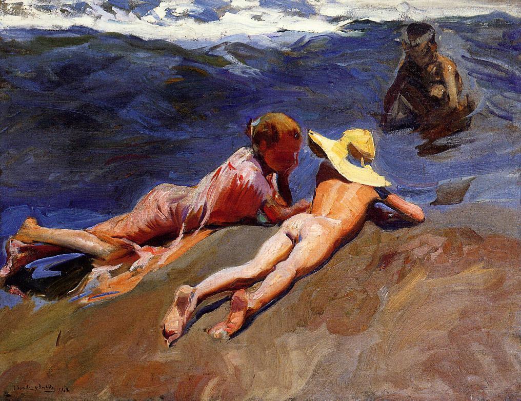 Хоакин Соролья (Соройя). На песке, пляж в Валенсии