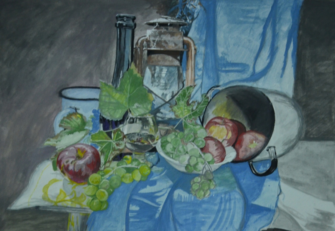 Kuznetsov.N. Grapes, apples and a lamp.