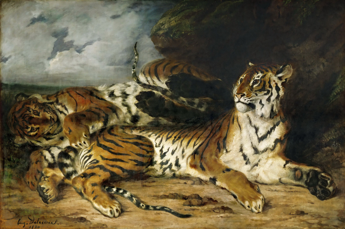 Eugene Delacroix. A young tiger playing with its mother