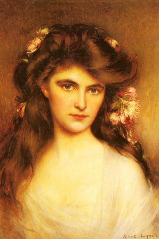 Юная красавица с цветами в волосах