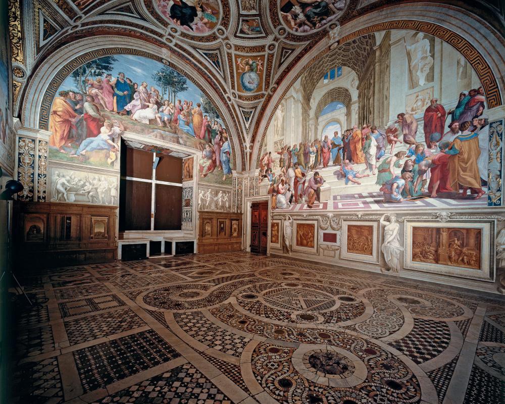 The school of Athens. The Stanza della Segnatura in the Vatican Museum