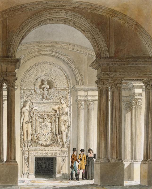 Шарль Фонтэн Пьер Персье. Вид зала охраны в Старом Лувре