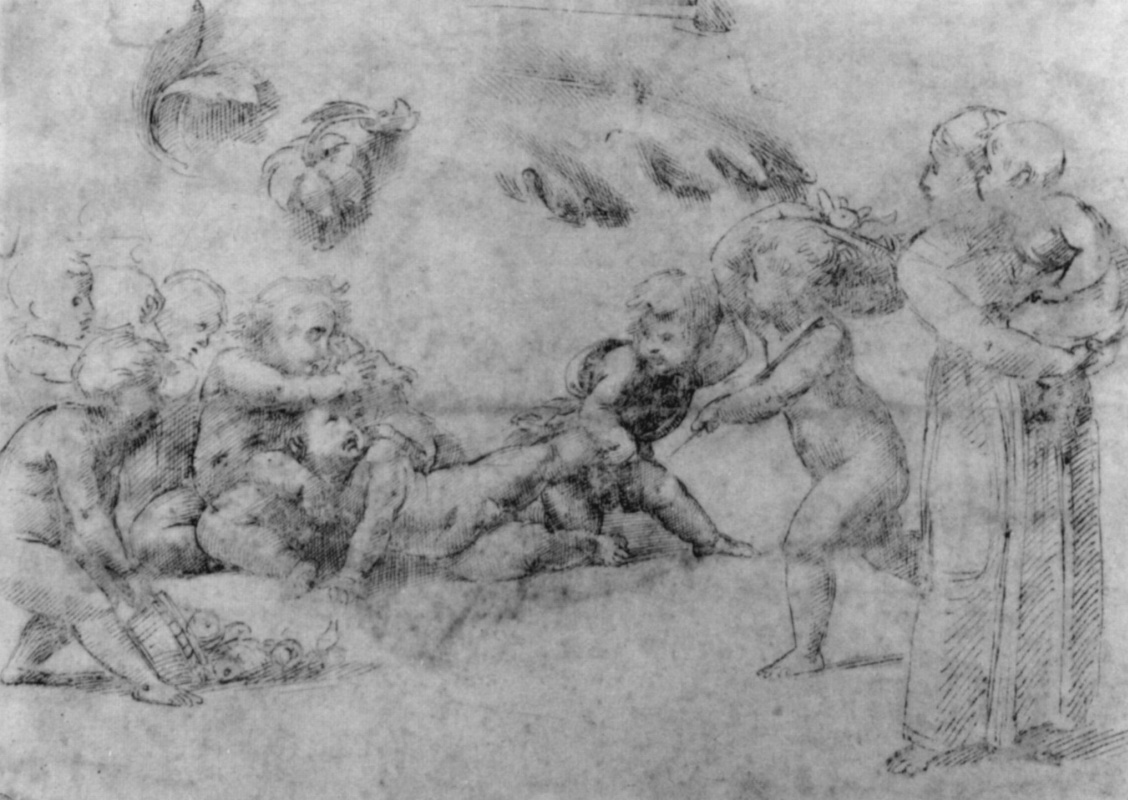 Raphael Sanzio. Frolicking cupids and a girl with a child