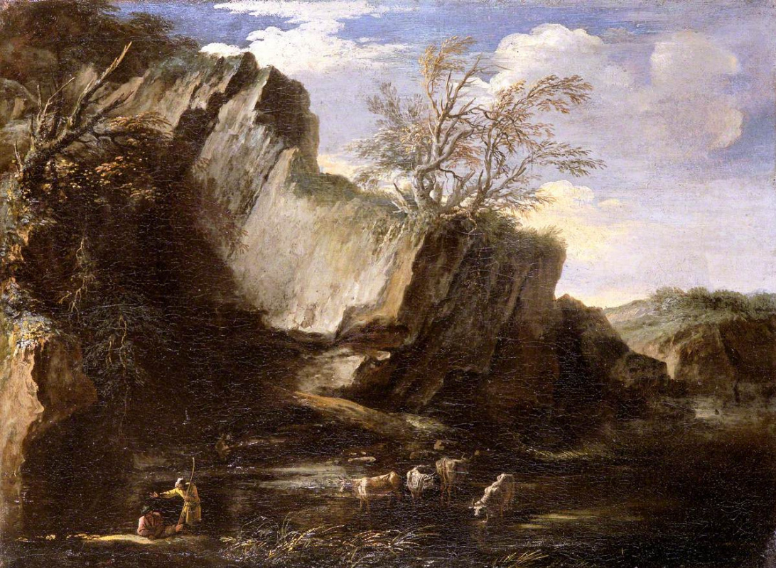Salvator Rose. Rocky Landscape with Herdsmen and Cattle