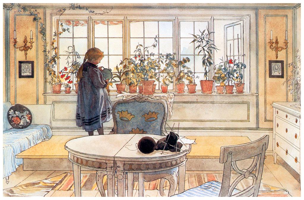 """Карл Ларссон. Цветы в гостиной. Акварель из альбома """"Наш дом"""""""