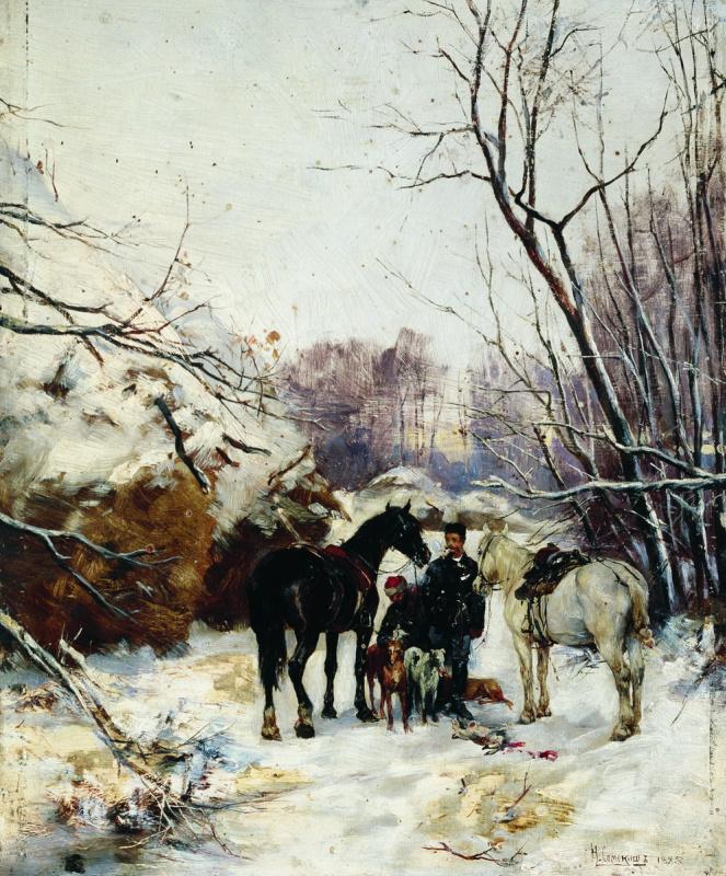 Николай Семенович Самокиш. Охотники. 1885