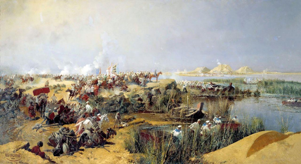 Николай Николаевич Каразин. Переправа туркестанского отряда через Аму-Дарью в 1873 году