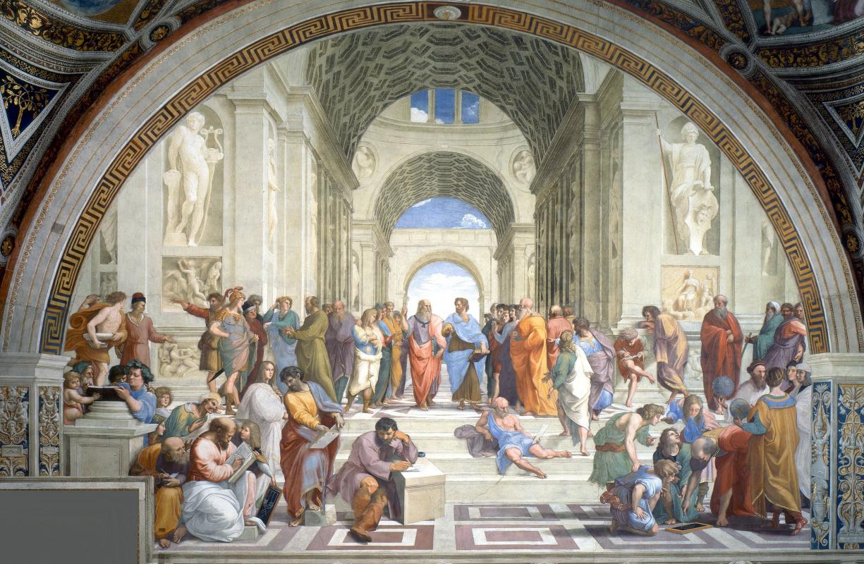 Raphael Sanzio. The school of Athens. The Stanza della Segnatura in the Vatican Museum