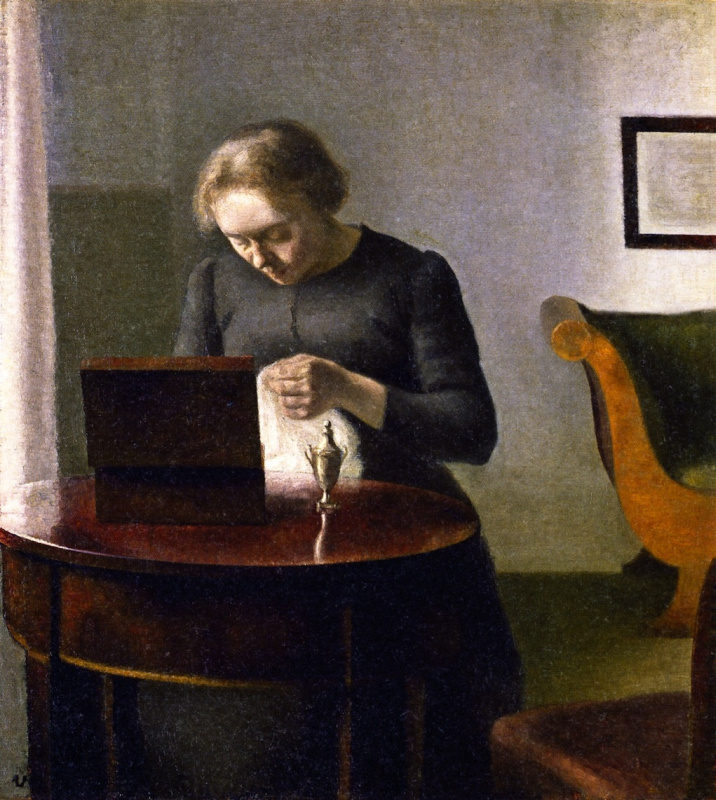 Vilhelm Hammershøi. Interior. Ida, sewing at the table