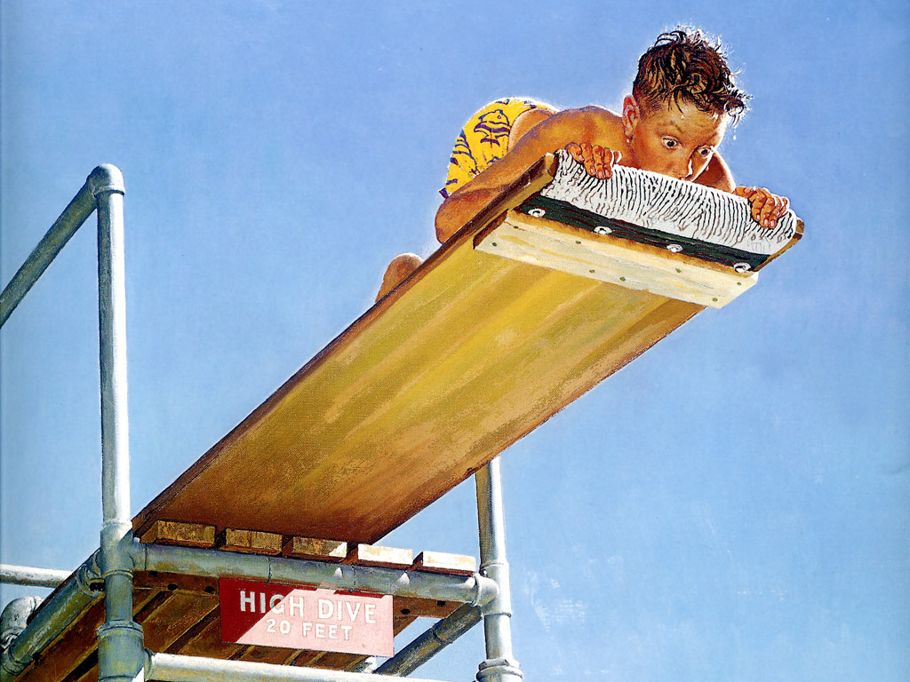 """Norman Rockwell. Tips for swimming. Cover of """"The Saturday Evening Post"""" (16 Aug 1947)"""